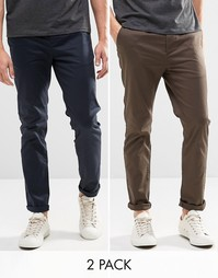 ASOS 2 Pack Slim Chinos In Navy And Khaki SAVE 15%
