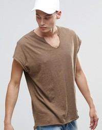 Меланжевая фактурная oversize‑футболка без рукавов c V-образной горлов Asos