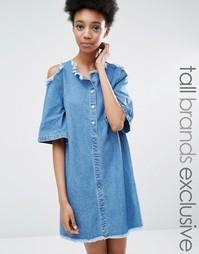 Джинсовое платье с открытыми плечами и бахромой Liquor & Poker Tall