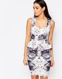 Платье миди с баской и цветочным принтом Vesper Katy - Серый рисунок