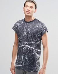Свободная футболка из ткани под лен с мраморным принтом ASOS - Серый