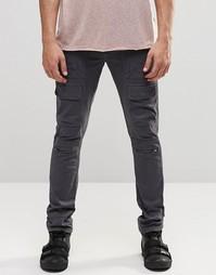 Серые суперзауженные брюки-карго с молниями ASOS - Серо-зеленый