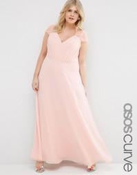 Платье макси с кружевом ASOS CURVE Kate - Телесный