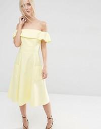 Сарафан из натуральных волокон с открытыми плечами ASOS - Желтый