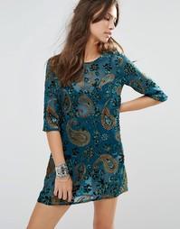 Вельветовое цельнокройное платье ebonie n ivory - Синий