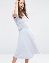 Платье миди с кружевом ASOS - Синий