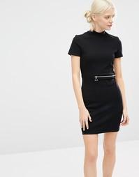 Платье мини с высокой горловиной и молнией Cheap Monday - Черный