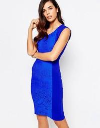 Платье миди с кружевной вставкой Amy Childs Yolanda - Синий