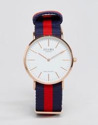 Сине-красные часы с парусиновым ремешком в полоску Reclaimed Vintage