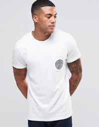 Облегающая футболка с принтом на кармане Abercrombie & Fitch - Белый