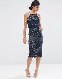 Платье миди с цветочным кружевом ASOS - Темно-синий