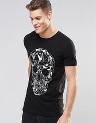 Облегающая рубашка с геометрическим принтом черепа ASOS - Черный