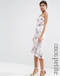 Розово-серое платье‑бандо миди с цветочным принтом ASOS PETITE