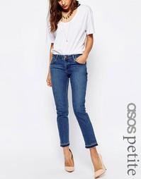 Синие выбеленные джинсы бойфренда с распущенными кромками ASOS PETITE