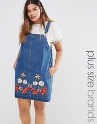 Джинсовый сарафан с цветочной вышивкой Alice & You - Синий