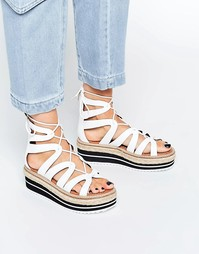 Белые сандалии на плоской платформе SixtySeven Echos Ghillie - Белый