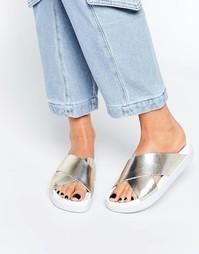 SixtySeven Nimo Gold Metallic Cross Front Slider Sandals - Золотой