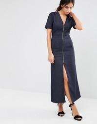 Джинсовое платье макси с молнией и V-образным вырезом Liquorish