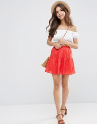 Ярусная мини-юбка ASOS - Красный