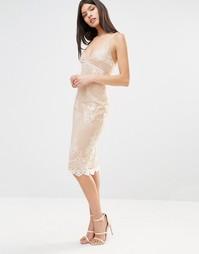 Платье миди на бретельках с кружевной накладкой Club L