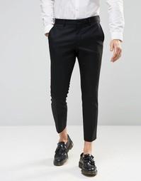 Укороченные зауженные брюки стретч Selected Homme - Черный