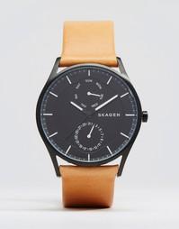 Кварцевые часы 40 мм с коричневым кожаным ремешком Skagen Holst