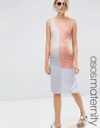 Платье в стиле колор блок для беременных ASOS Maternity - Колор блок