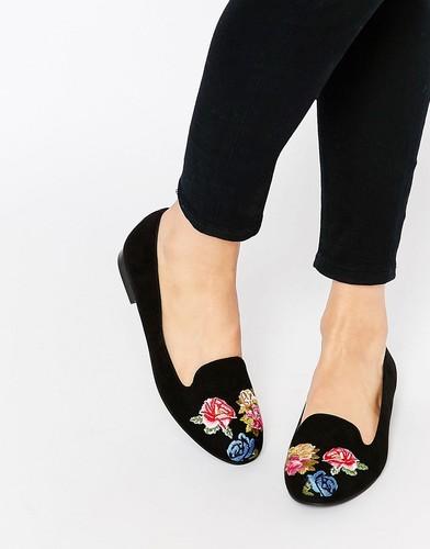 Туфли с вышивкой на плоской подошве ASOS MYLO - Черный