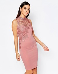 Club L Crochet Detail Mini Dress With High Neck - Сумеречно-розовый