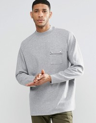 ASOS Oversized Longline Sweatshirt In Rib With Pocket - Серый