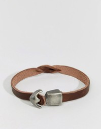 Кожаный браслет с застежкой-крючком Jack & Jones - Коричневый