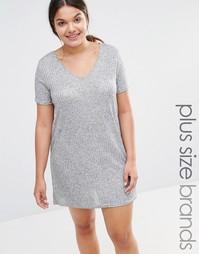 Платье-футболка цвета металлик Missguided Plus - Серый
