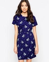 Платье с леопардами Sugarhill Boutique Betsy - Темно-синий