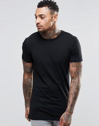 Удлиненная облегающая черная футболка ASOS - Черный