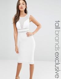Платье-футляр с кружевной вставкой TFNC Tall - Белый
