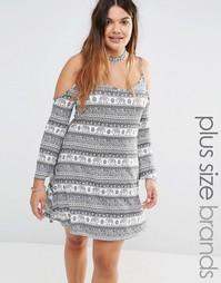 Платье с открытыми плечами и принтом слонов Missguided Plus - Черный