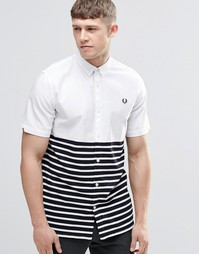 Fred Perry Shirt In Slim Fit With Half Stripe Short Sleeves - Белый