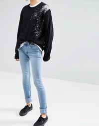 Узкие джинсы Cheap Monday - Стираный синий деним