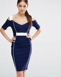 Платье-футляр с открытыми плечами и вырезами Vesper