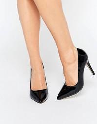 Черные лакированные туфли-лодочки на каблуке Head Over Heels By Dune A