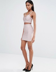 Бандажная юбка в рубчик Missguided - Mauve