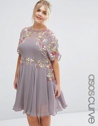 Короткое приталенное платье с 3D отделкой ASOS CURVE SALON - Серый