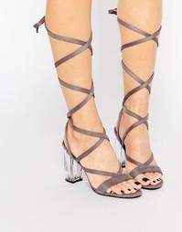 Public Desire Bianca Grey Wrap Tie Clear Heel Sandal - Серый