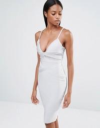 Платье миди с сетчатой вставкой и бретельками Missguided - Серый лед