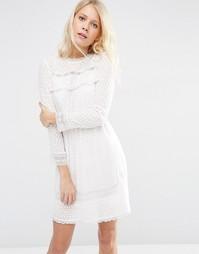 Кружевное платье со вставками Needle & Thread - Мел