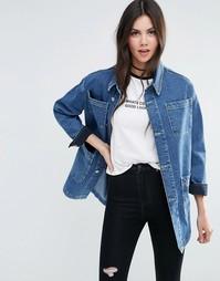 Синяя джинсовая куртка из стираного денима ASOS - Синий стираный деним