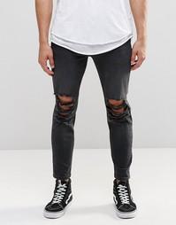 Выбеленные черные джинсы скинни укороченного кроя с прорехами ASOS