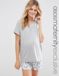 Пижамная футболка и шорты с цветочным принтом для беременных ASOS Mate