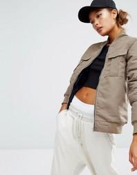 Куртка-пилот с карманами Daisy Street - Хаки с оттенком серого