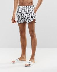 Короткие шорты для плавания с черно-белым принтом Abuze London - Белый